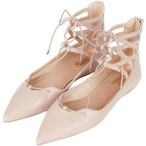 Topshop Ankle Strap Lace Up Point Ballet Flats
